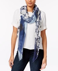 Vince Camuto Printed Scarf Marine Blue