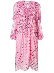Koche Polka Dot Ruffled Dress Pink And Purple