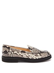Tod's Python Effect Leather Loafers Black White