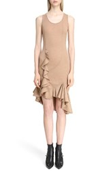 Givenchy Women's Ruffled Wool Jersey Dress Camel