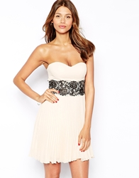 Elise Ryan Bandeau Dress With Scallop Lace Waist Nude