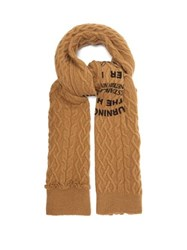 Raf Simons Asymmetric Text Print Cable Knit Wool Scarf Camel