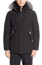 Men's Point Zero Water Resistant Parka With Genuine Silver Fox Fur And Rabbit Fur Trim Black Silver Fox