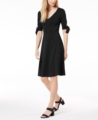 525 America Petite Bow Sleeve Fit And Flare Dress Black