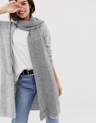 Oasis Knitted Scarf In Grey Mid Grey