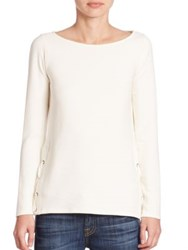 Red Haute Side Lace Ribbed Silk Blend Top Winter White