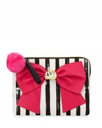 Betsey Johnson Bow And Arrow Striped Bow Pouch Bag Fuchsia