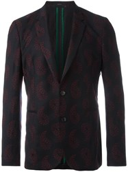 Paul Smith Paisley Embroidery Blazer Blue