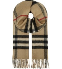 Burberry Metallic Checked Reversible Cashmere Scarf Camel