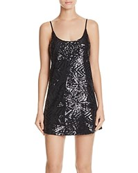 Aqua Geo Sequin Slip Dress Black