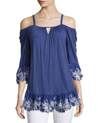 Neiman Marcus Cold Shoulder Embroidered Peasant Top Blue