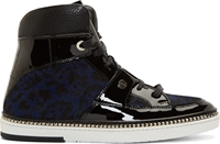 Jimmy Choo Black Leather And Calf Hair Leopard Print Barlowe Sneakers