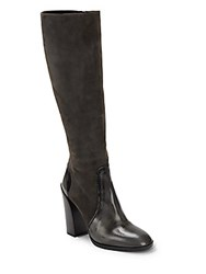 Jil Sander Leather Over The Knee Boots Dark Grey