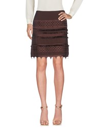 Marc Cain Knee Length Skirts Dark Brown