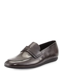 Prada Leather Slip On Loafer Charcoal Gray