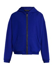 Haider Ackermann Perth Hooded Zip Through Cotton Sweatshirt Navy