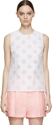 Kenzo White Sheer Striped And Dotted Tank Top