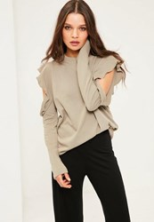 Missguided Green Frill Detail Cold Shoulder Sweatshirt