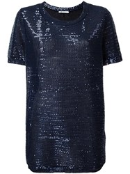 Dondup Sequin Embellished T Shirt Blue