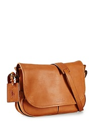 Polo Ralph Lauren Core Leather Messenger Bag Cognac