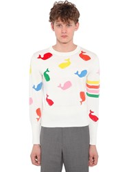 Thom Browne Whale Intarsia Cotton Knit Sweater White