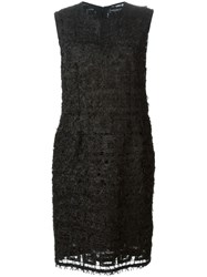 Jean Louis Scherrer Vintage Feather Knit Dress Black