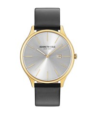 Kenneth Cole Classic Stainless Steel Analog Leather Strap Watch Black