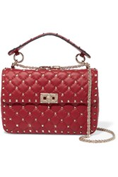 Valentino The Rockstud Spike Medium Quilted Leather Shoulder Bag Red Gbp