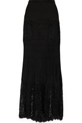 Rachel Zoe Kate Cotton Blend Lace And Silk Crepe De Chine Maxi Skirt Black