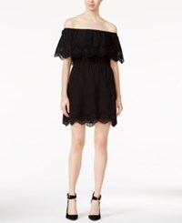 Kensie Crochet Trim Off The Shoulder Dress Black
