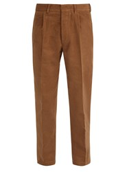 The Gigi Mid Rise Tapered Cotton Trousers Brown