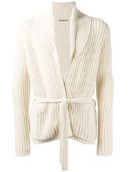 Nuur Ribbed Detail Cardigan Nude Neutrals