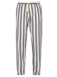 The Gigi Waikiki Mid Rise Striped Linen Trousers Blue White