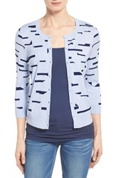 Women's Halogen Three Quarter Sleeve Cardigan Blue Navy Float Pattern