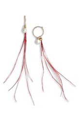 Dries Van Noten Imitation Pearl And Genuine Ostrich Feather Earring Burgundy