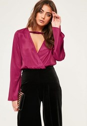 Missguided Pink Bar Front Flare Sleeve Wrap Front Crop Blouse Plum