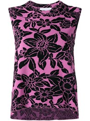 Christian Wijnants Sleeveless Floral Top Women Cotton Polyamide Viscose S Pink Purple