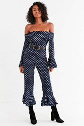 Urban Outfitters Uo Off The Shoulder Ruffle Hem Polka Dot Jumpsuit Navy