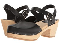Swedish Hasbeens Covered High Black Women's Clog Shoes