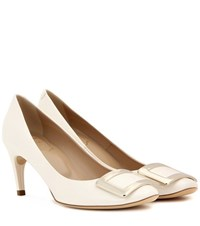 Roger Vivier Belle De Nuit Patent Leather Pumps White