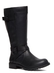 Evans Extra Wide Fit Double Strap Biker Boot Black