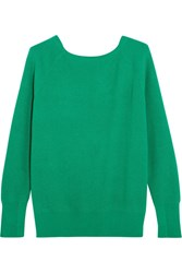 Maje Cutout Ribbed Knit Sweater Forest Green