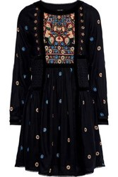 Love Sam Woman Guipure Lace Paneled Embroidered Voile Mini Dress Black