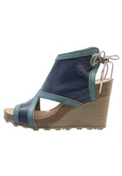 Fly London Adye Mousse Wedge Sandals Blue Turquoise