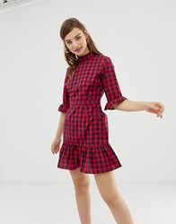 Glamorous High Neck Tea Dress In Check Navy Red