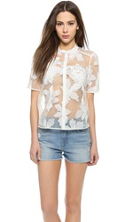 Rebecca Taylor Floral Camp Shirt Canvas Cream