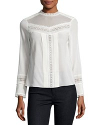 Rebecca Taylor Lace Trim Long Sleeve Silk Top White