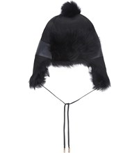 Karl Donoghue Leather Pom Pom Trapper Hat Eclipse