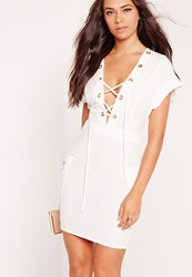 Missguided Crepe Eyelet Lace Up Bodycon Dress White White