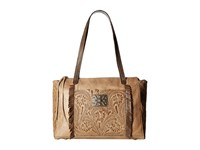 American West Annie's Secret Zip Top Tote W Secret Compartment Distressed Cream Distressed Charcoal Brown Tote Handbags Tan